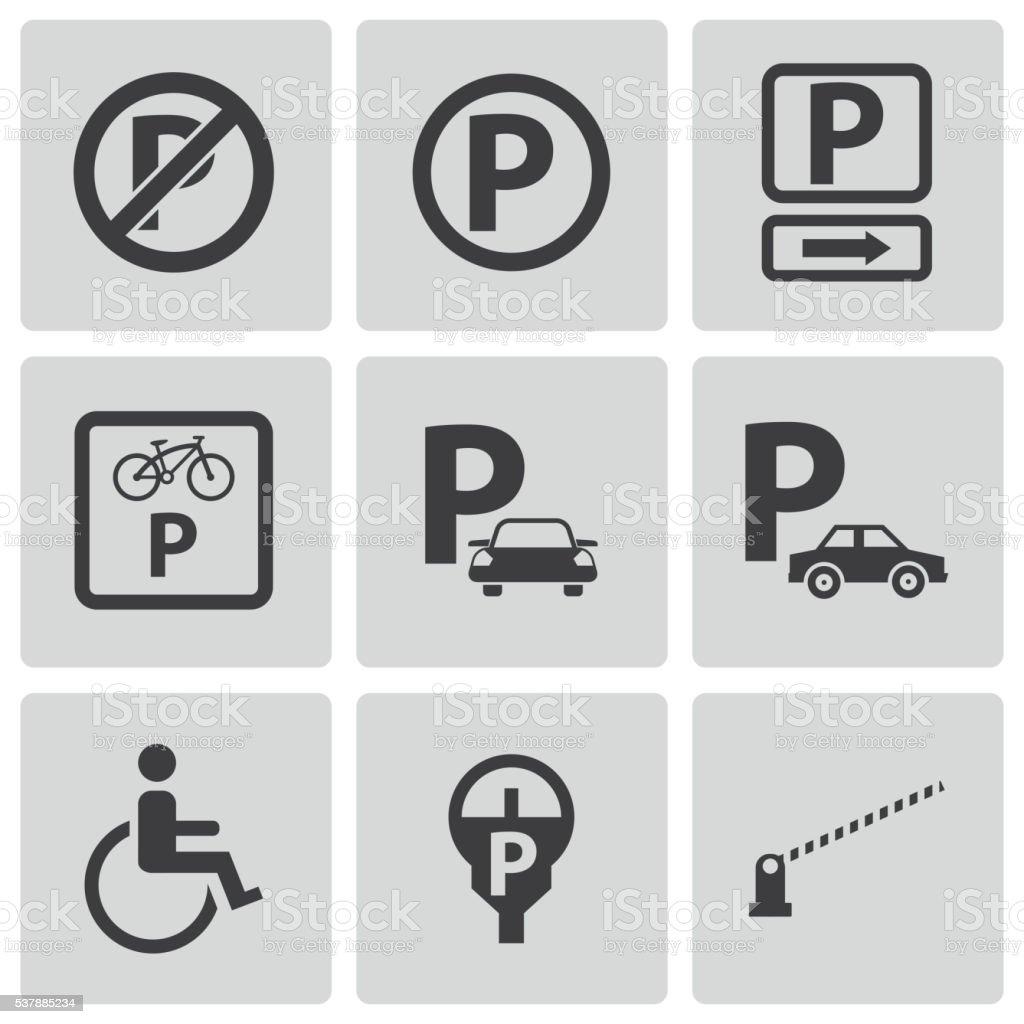 Vector black parking icons set vector art illustration