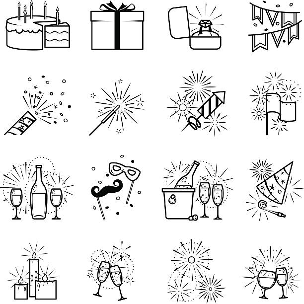 Vector black party icons Celebration icons and party icons. Vector black party icons on white background anniversary silhouettes stock illustrations