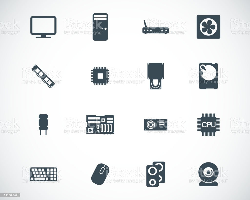 Vector black  PC components  icons set vector art illustration