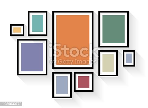 istock Vector black picture frame set on wall background 1059930772