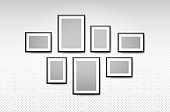 istock Vector black picture frame set on wall background 1196286693