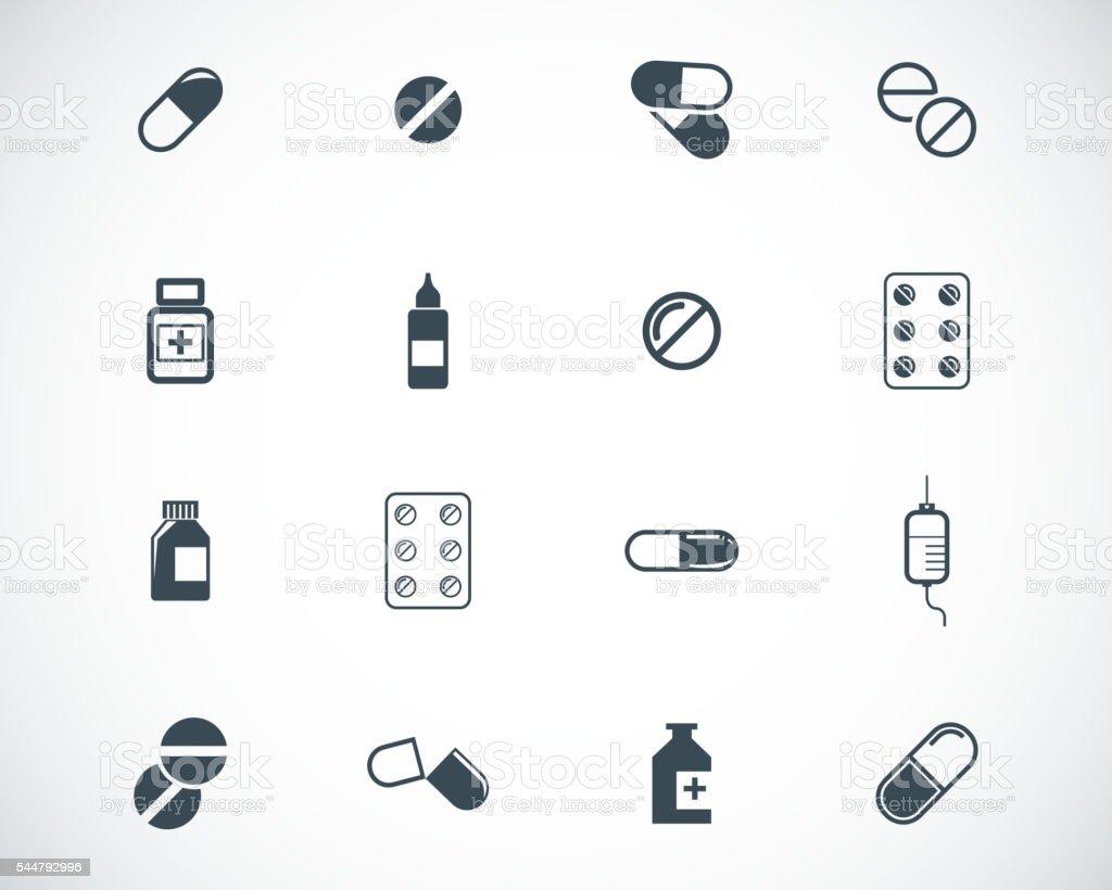 Vector black pills icon set vector art illustration