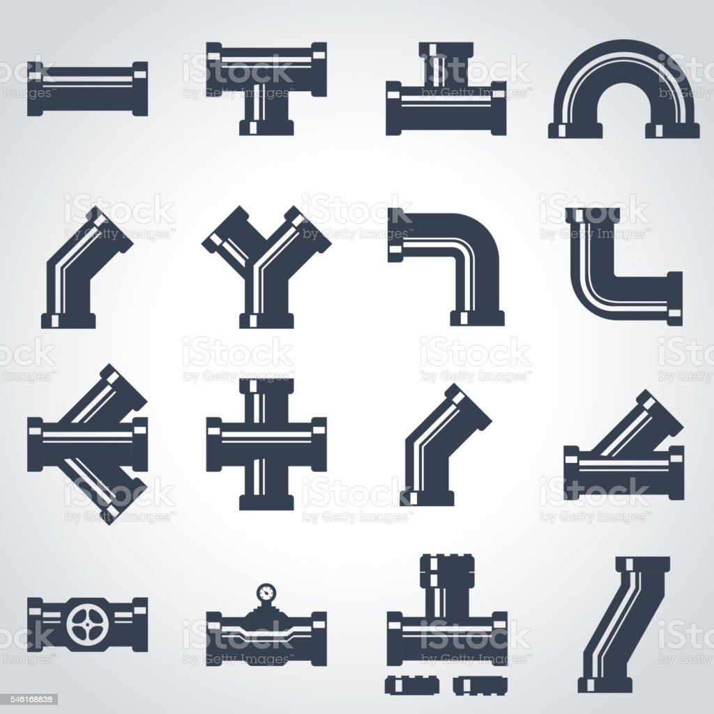 Vector black pipe fittings icon set vector art illustration