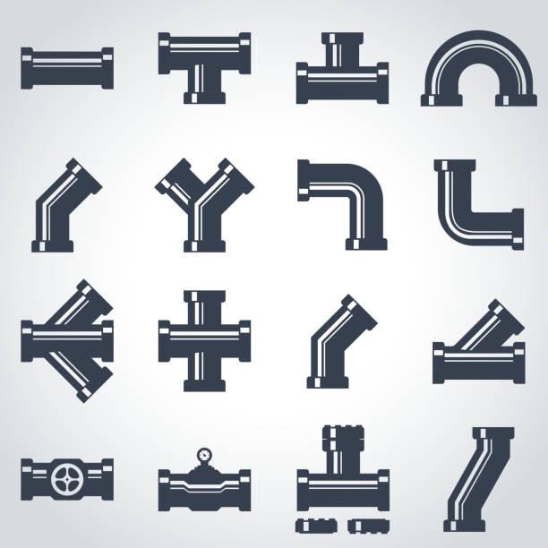 ベクトルブラックのパイプアイコンセット金具 - 配管工点のイラスト素材/クリップアート素材/マンガ素材/アイコン素材