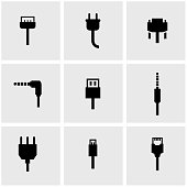 Vector black plug icon set