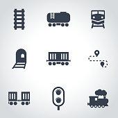 Vector black railroad icon set