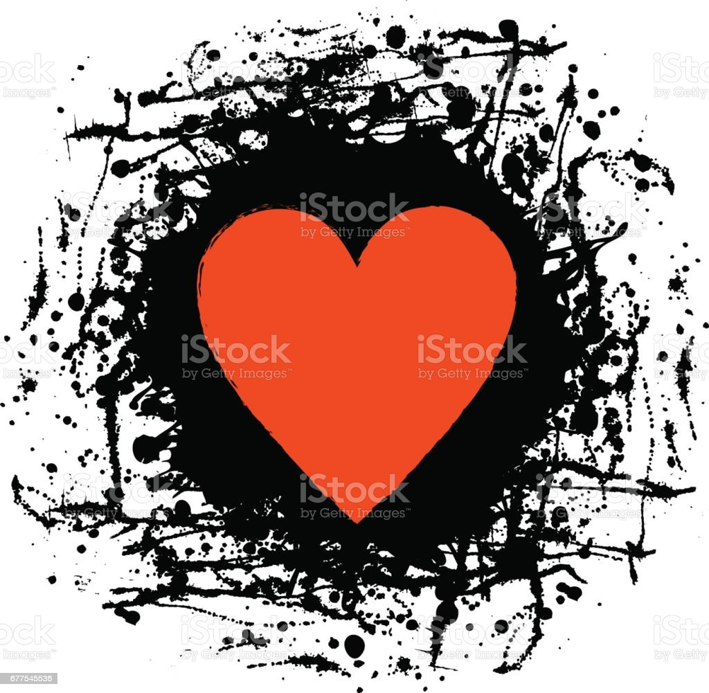 Vector black, red graphic grunge illustration of heart sign with ink blot, brush strokes, drops isolated on the white background. Series of artistic illustration with splash, blots and brush strokes. royalty-free vector black red graphic grunge illustration of heart sign with ink blot brush strokes drops isolated on the white background series of artistic illustration with splash blots and brush strokes stock vector art & more images of art