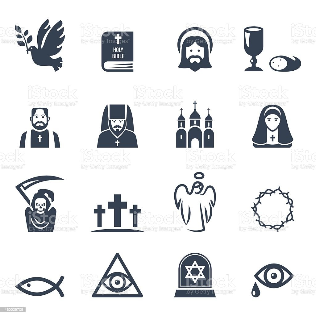 Vector Christian religion icons set. Vector black religion icons set