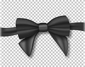 Vector Black Ribbon. 3D Realistic Ribbon Isolated on Transparent Background