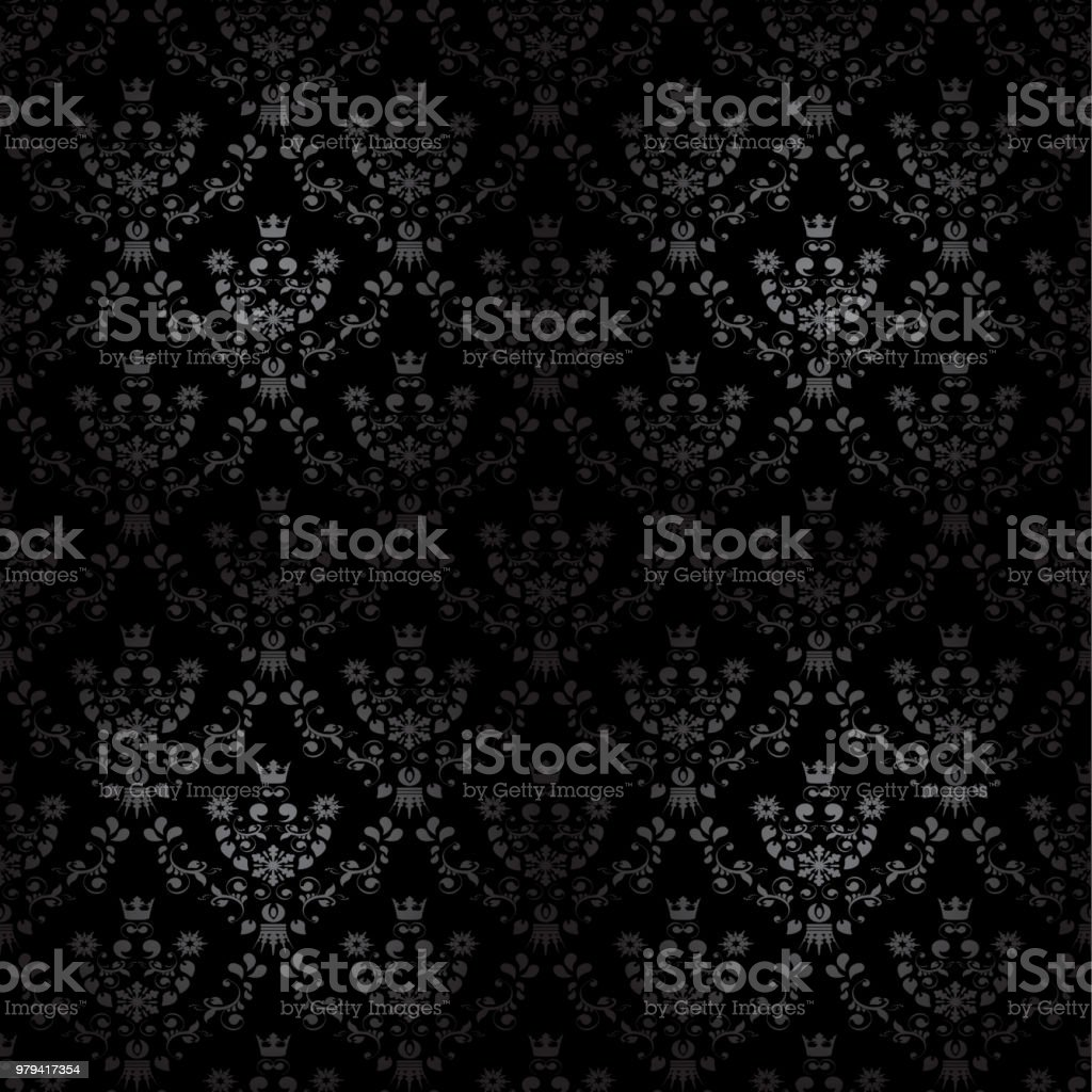 vector black seamless ornament background wallpaper with flower