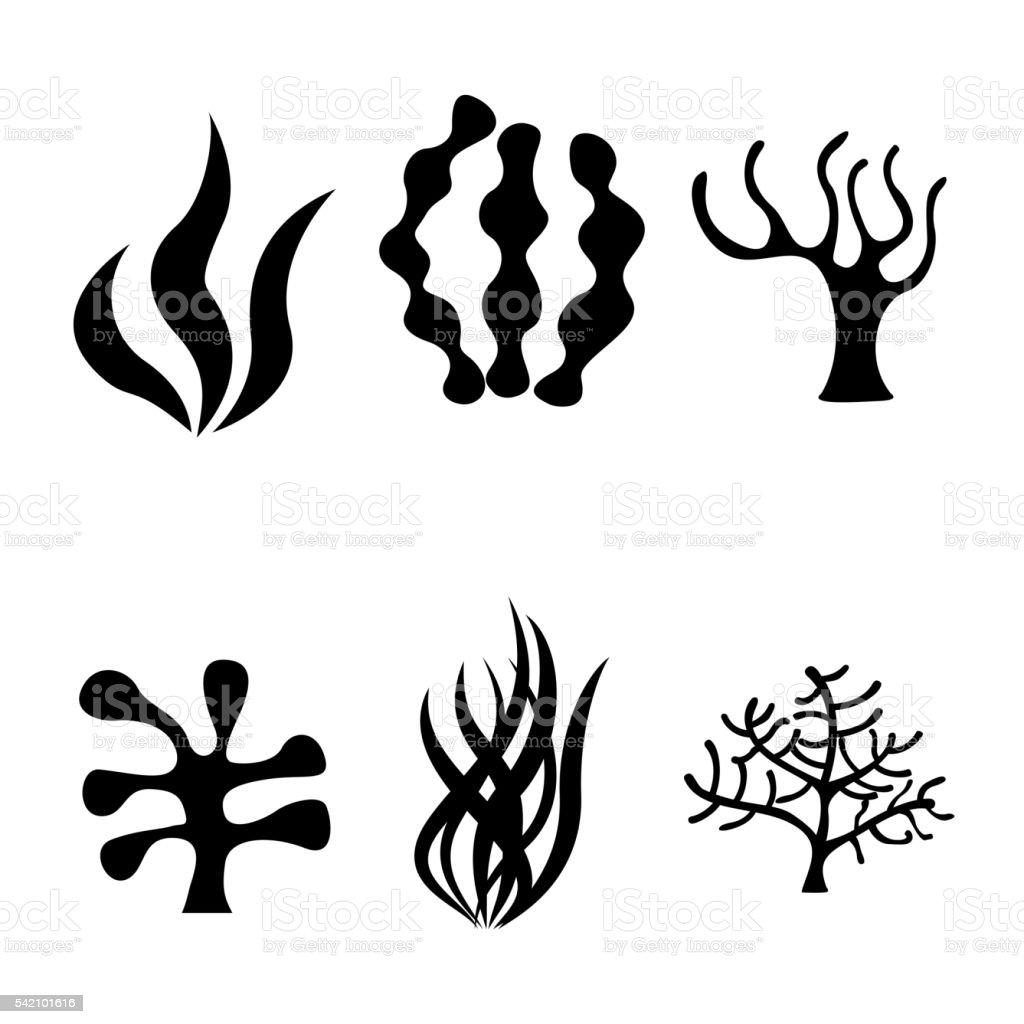 Conjunto de iconos de Vector negro con algas - ilustración de arte vectorial