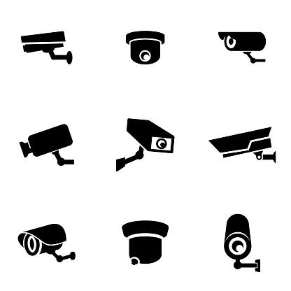 Vector black security camera icon set
