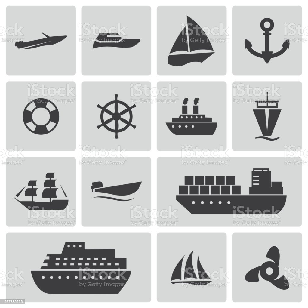 Vector black ship and boat  icons set vector art illustration