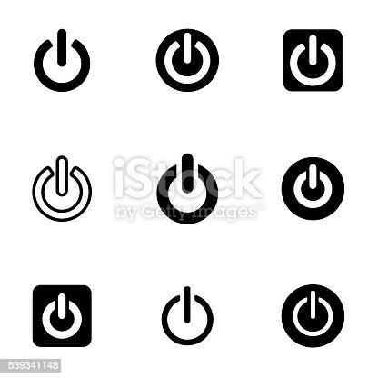 Vector black shut down icon set