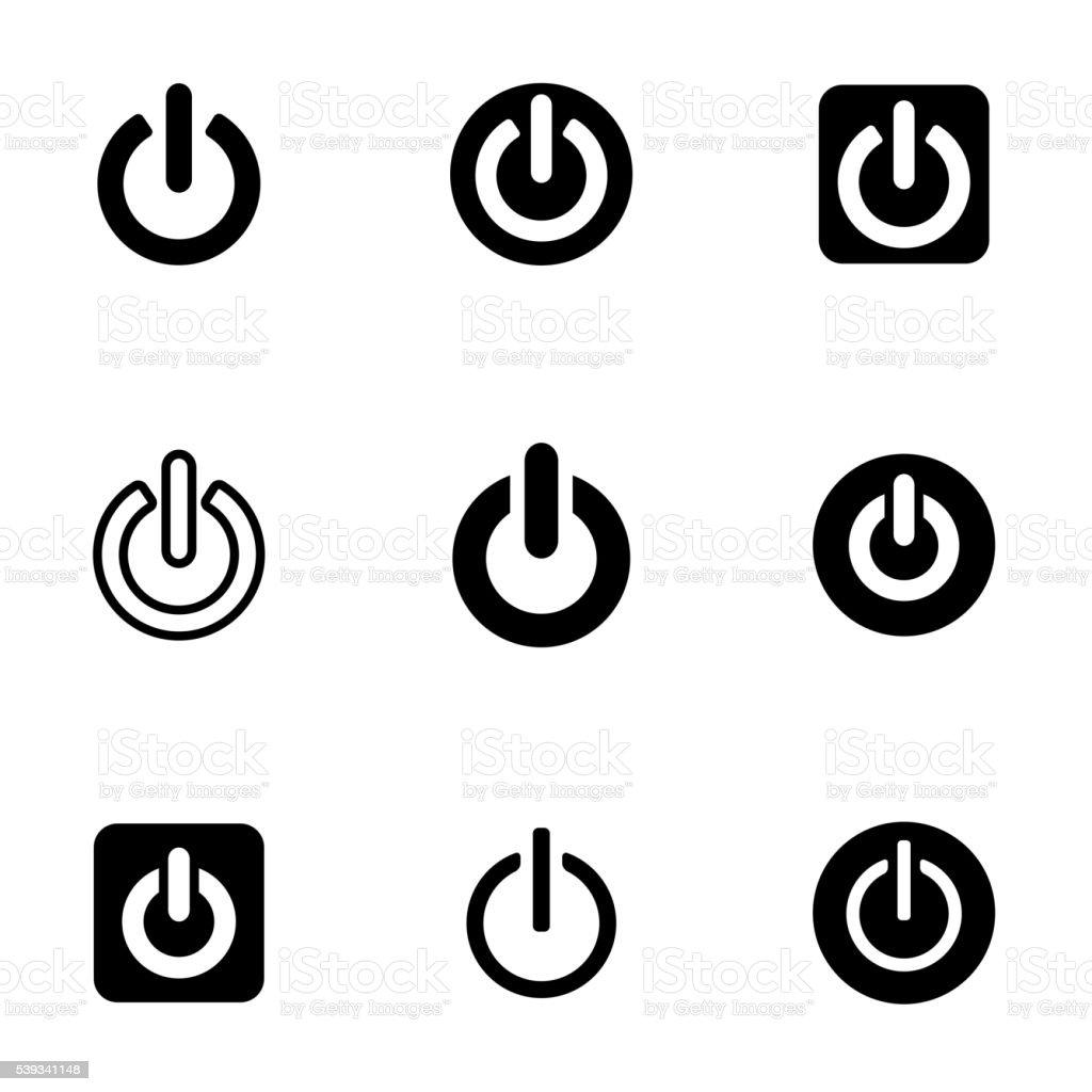 Vector black shut down icon set vector art illustration