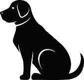 Vector black silhouette of a dog.