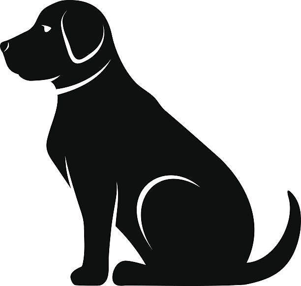 Vector black silhouette of a dog. - ilustración de arte vectorial