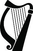 Vector black silhouette of a harp.
