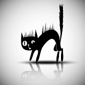 Vector black silhouette of angry cat.
