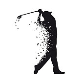 Vector black silhouette of golf player in broken sketch style