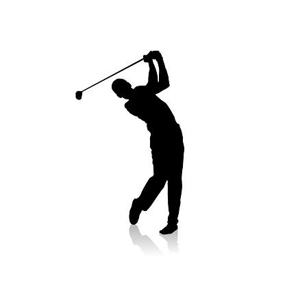 Vector black silhouette of golf