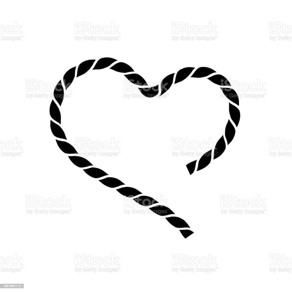 Vector Black Silhouette Of Heart Heart Symbol From A String Stock