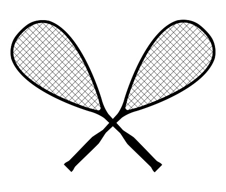 Vector black silhouette of squash or racketball crossed rackets