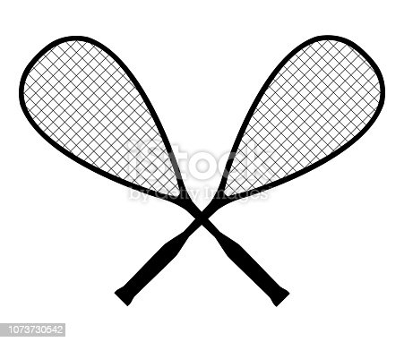 Vector black silhouette of squash or racketball crossed rackets isolated on a white background. Symbol of a sports team.