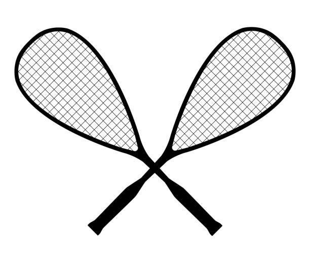 Vector black silhouette of squash or racketball crossed rackets Vector black silhouette of squash or racketball crossed rackets isolated on a white background. Symbol of a sports team. racket stock illustrations