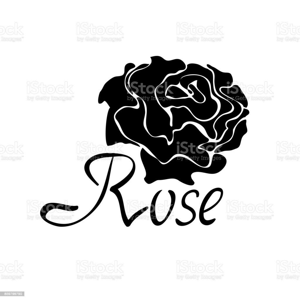 Vector black silhouette symbol with rose