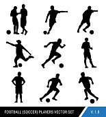 Vector black silhouettes of football players on white background.Graphic simplified style. Different silhouettes of football players and football referee. Football vector set.