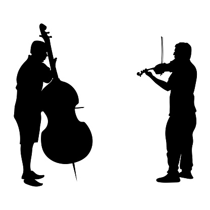 Vector black silhouettes people. Two adult men play musical instruments. The violinist is holding the violin, the guy is playing cello, side view people. Street musicians isolated on white background.