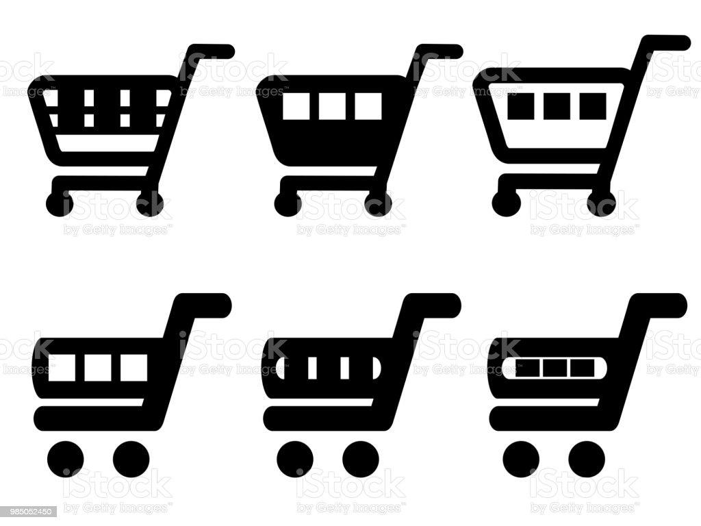 d3e9ae8f5db Vector zwarte eenvoudige winkelwagentje, trolley koffer, toevoegen aan  winkelwagen item, de knop kopen