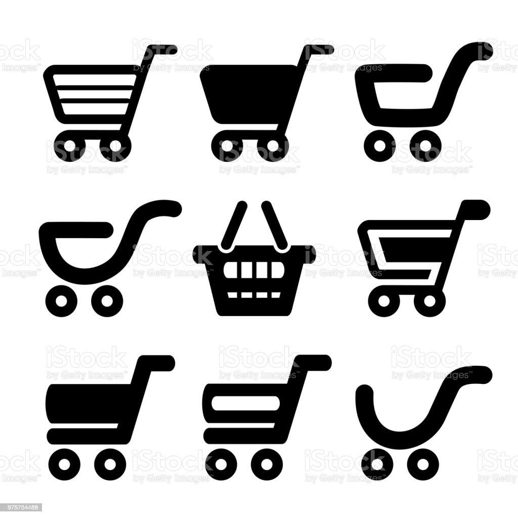 Vektor-schwarz einfache Warenkorb, Trolley, Element, button - Lizenzfrei Additionstaste Vektorgrafik