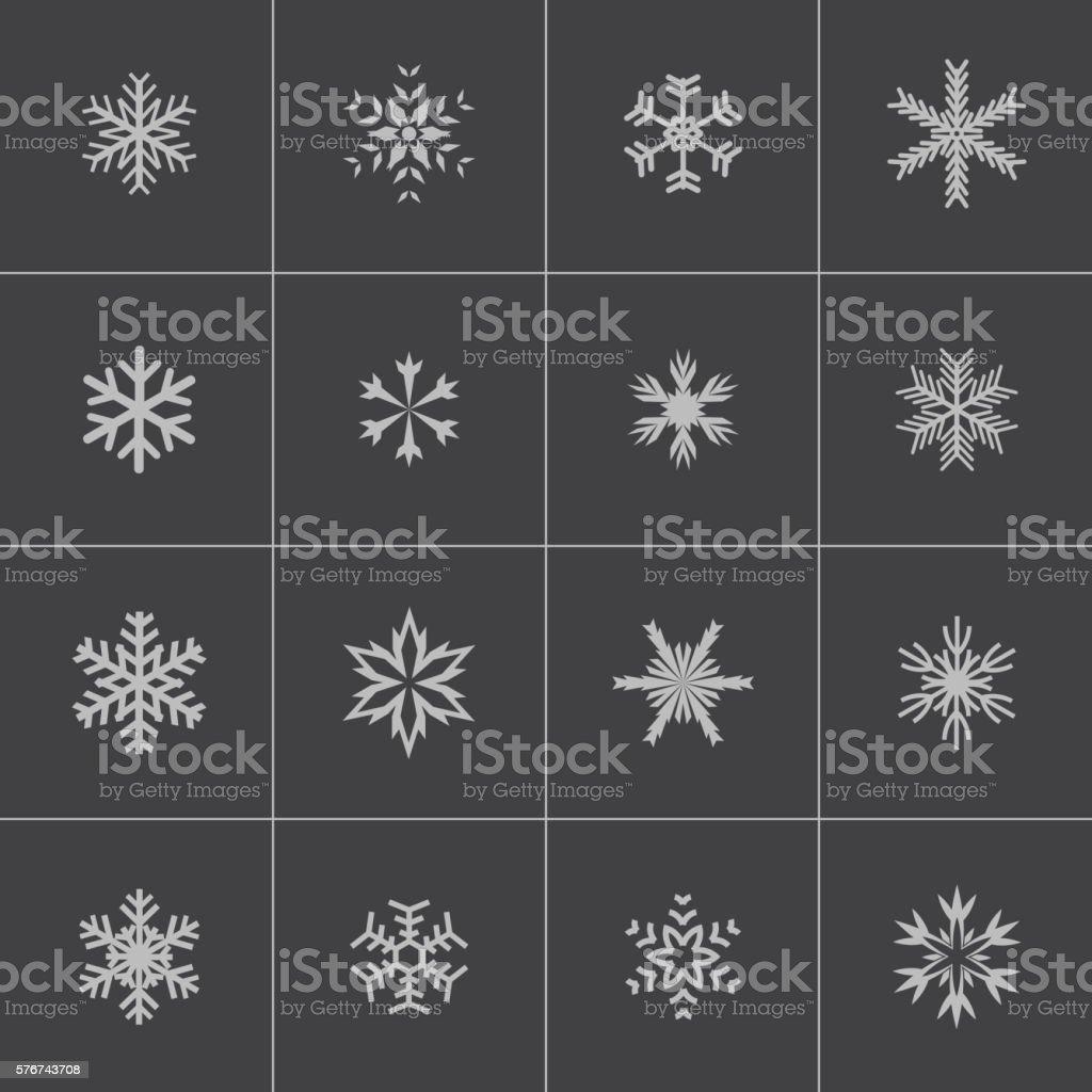 Vector black snowflake icons set vector art illustration