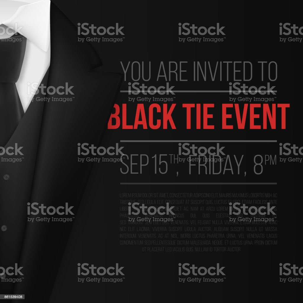 Vector Black Suit. Black Tie Event Invitation Template. Realistic Vector 3D Mens Suit with Neck Tie vector art illustration