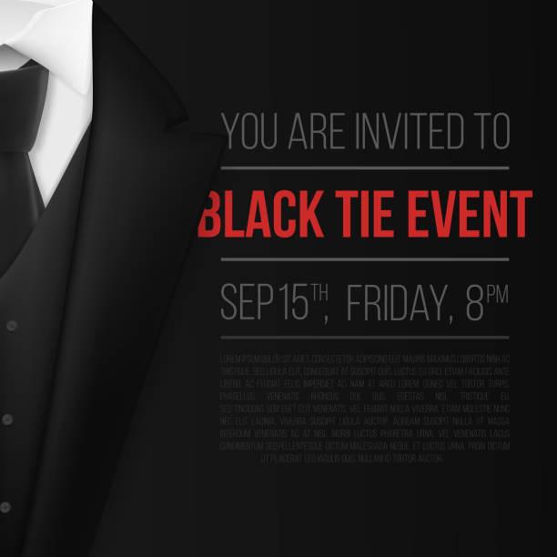 vector black suit. black tie event invitation template. realistic vector 3d mens suit with neck tie - black tie events stock illustrations, clip art, cartoons, & icons