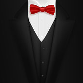 Vector Black Suit with Bowtie. Realistic Mens Tuxedo Suit Succeed Businessman Concept