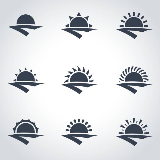 vector black sunrise icon set - sunrise stock illustrations, clip art, cartoons, & icons