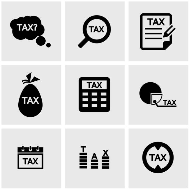 Vector black tax icon set Vector black tax icon set tax form stock illustrations