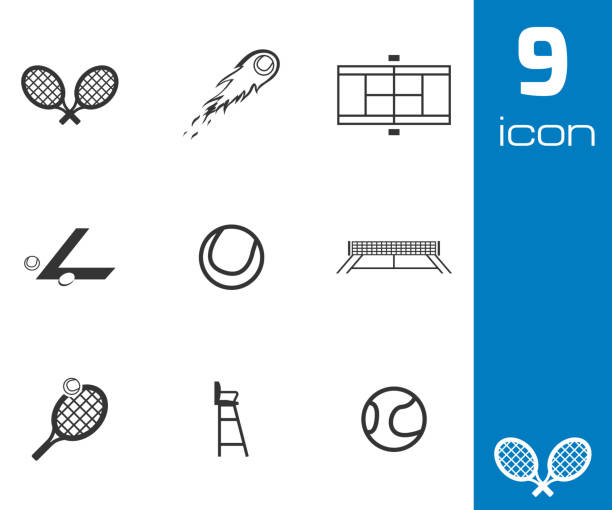 vektor schwarz-icon-set - wimbledon stock-grafiken, -clipart, -cartoons und -symbole