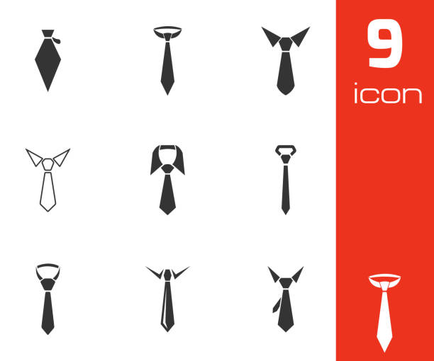 vector black tie icons set - tie stock illustrations, clip art, cartoons, & icons