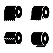 Vector black toilet paper icons set on white background.