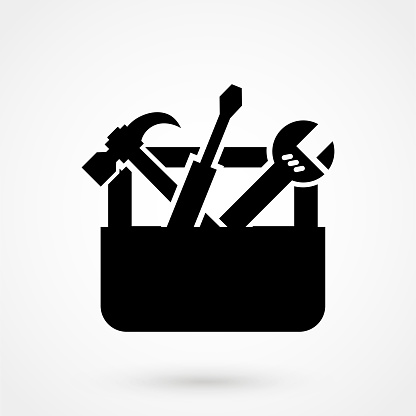 Vector Black Toolbox With Tools Icon On White Stock ...
