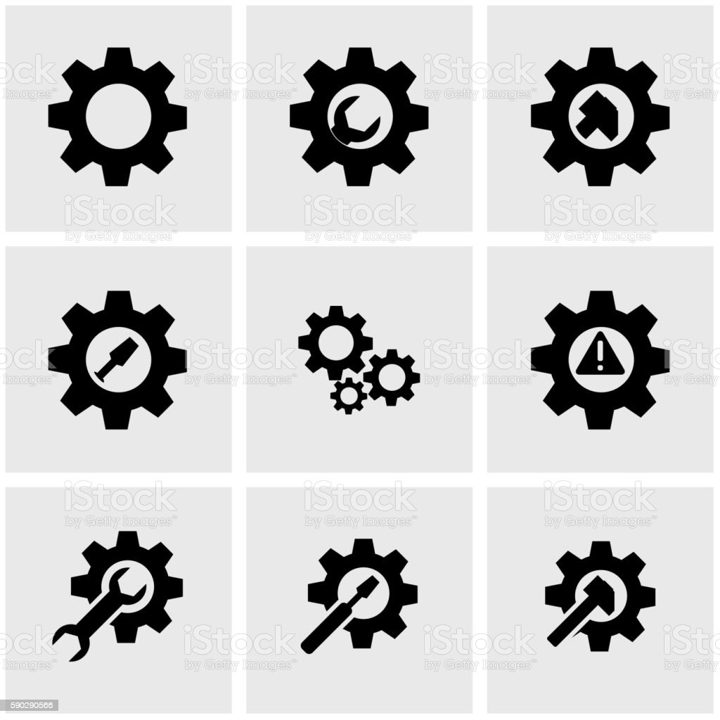 Vector black tools in gear icon set vector art illustration