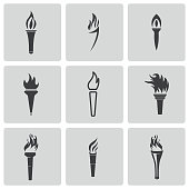 Vector black torch icons set