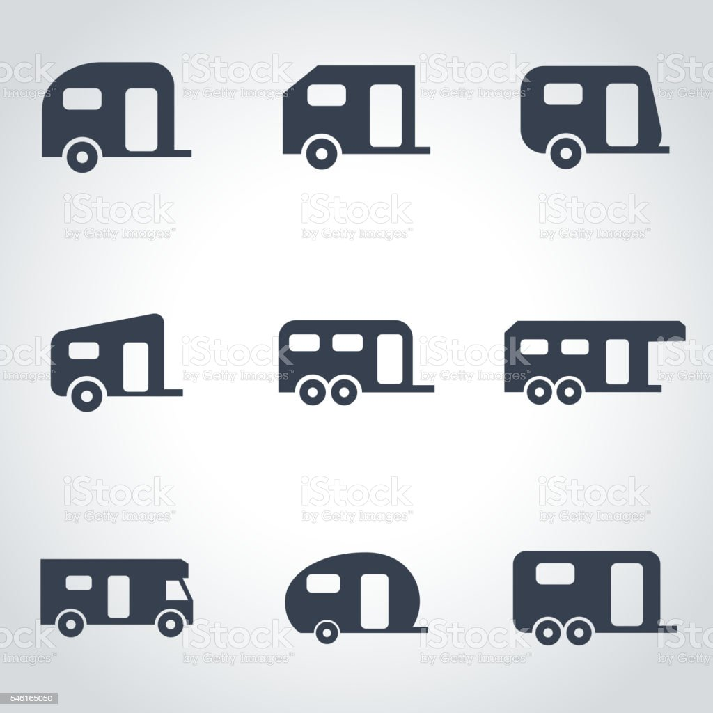 Vector black trailer icon set vector art illustration