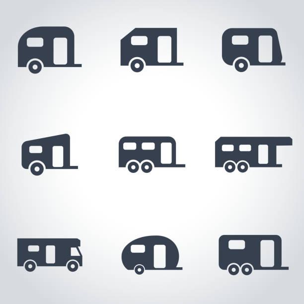 vektor schwarz anhänger symbol-set - campinganhänger stock-grafiken, -clipart, -cartoons und -symbole