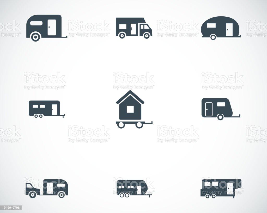 Vector black trailer icons set vector art illustration