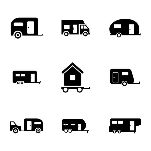 vektor schwarze symbole set-anhänger - campinganhänger stock-grafiken, -clipart, -cartoons und -symbole